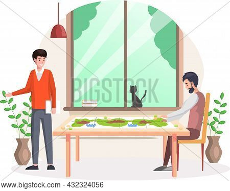 Happy Family Or Friends Two Men Sitting At Table And Playing Strategy Logical Board Game, Spending T