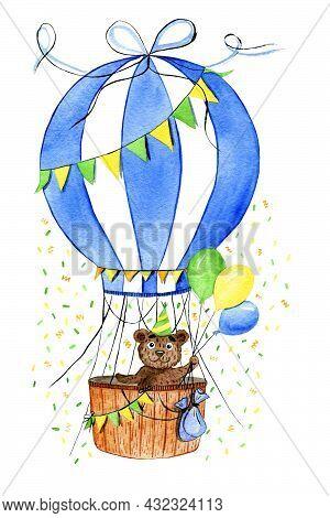 Watercolor Illustration Of A Balloon With A Cheerful Bear Cub. Air Transport. Congratulatory Balloon