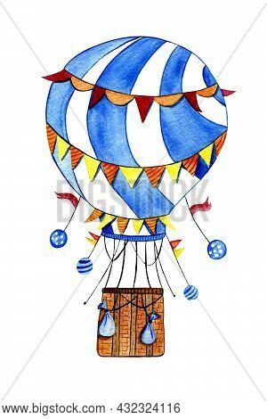 Watercolor Illustration Of A Balloon In Rainbow Colors. Air Transport. Transport For Movement In The