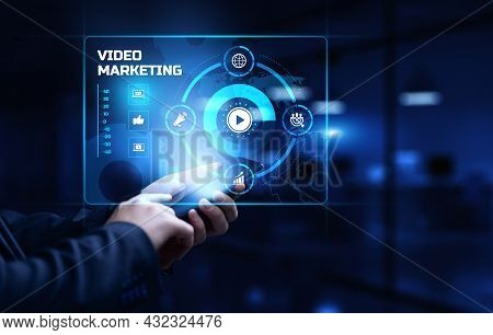 Video Marketing Social Media Advertising Advertisement Strategy Business Concept.