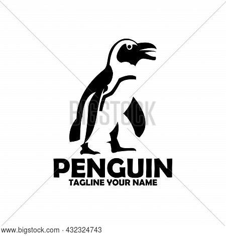 Penguin Animal Design Logo Vector. Penguin Silhouette Vector