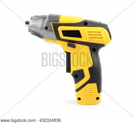 Electric Cordless Screwdriver Drill Isolated On White Background, Professional Home Repair Tool, Han