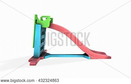 Metal Children's Slide Isolated On White Background. View At An Angle. 3d Rendering. Recreational, A