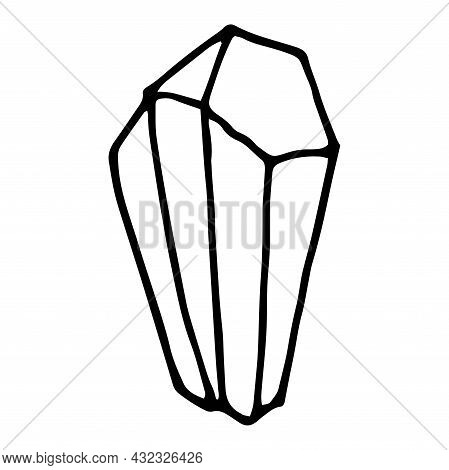 Vector Crystal. A Hand-drawn Doodle-style Mineral With Sharp Edges, An Isolated Black Outline On A W