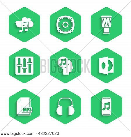Set Musical Note In Human Head, Headphones, Player, Vinyl With Vinyl Disk, Mp3 File Document, Sound