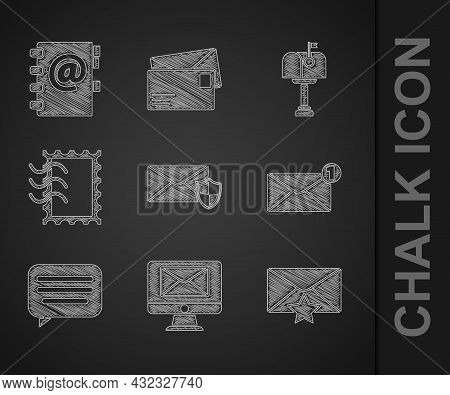 Set Envelope With Shield, Monitor And Envelope, Star, Speech Bubble Chat, Postal Stamp, Mail Box And