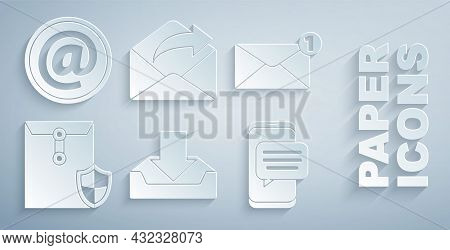 Set Download Inbox, Envelope, With Shield, Chat Messages Notification On Phone, Outgoing Mail And Ma