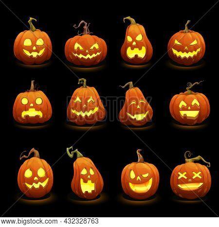 Cartoon Halloween Burning Pumpkins. Jack O Lanterns Scary Monster Characters. Halloween Pumpkins Wit