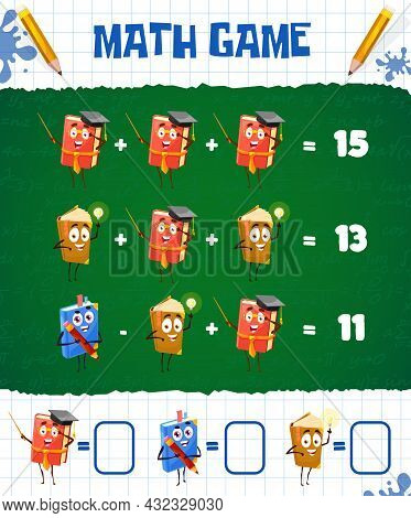 Math Game Worksheet With Cartoon School Textbooks And Books, Vector Education Maze. Kids Math Puzzle