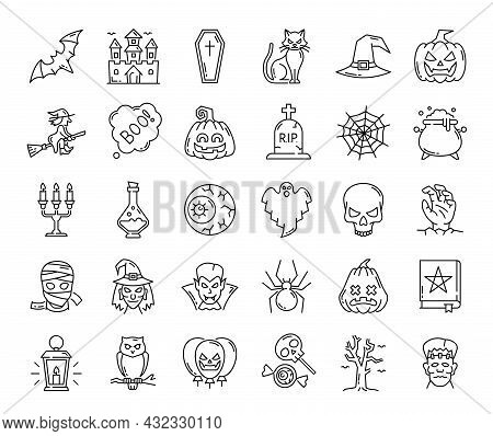 Halloween Ghost, Pumpkin And Witch, Spider Web And Scary Characters, Vector Outline Icons. Halloween