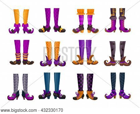Cartoon Legs Of Fairy Witch Or Sorceress Hellcat, Elf Or Enchantress, Vector Icons. Witch Legs In St