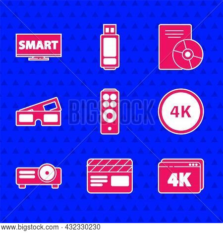 Set Remote Control, Movie Clapper, Online Play Video With 4k, Ultra Hd, Movie, Film, Media Projector