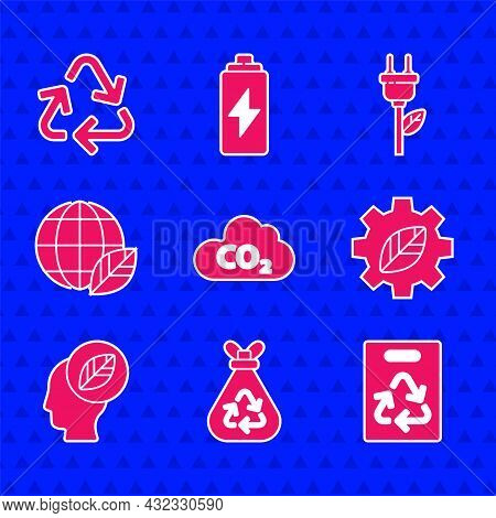 Set Co2 Emissions In Cloud, Garbage Bag With Recycle, Paper, Leaf Plant Gear Machine, Human Head Lea