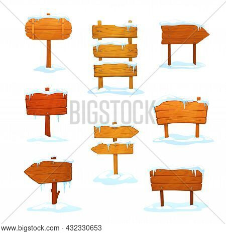 Winter Wooden Signs, Cartoon Signboards With Snow And Icicles, Boards On Wood Poles. Vector Arrows O