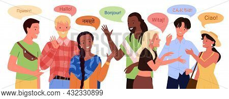 Multilingual People Greeting, Young Man Woman Say Hello In Different Foreign Languages