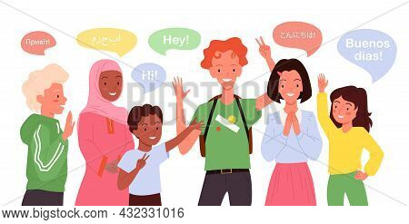 Cartoon Group Of Multicultural Multiethnic Girl Boy Child Characters Standing, Cute Students Waving