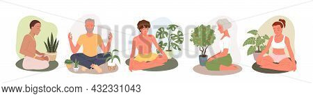 People Relax In Yoga Meditation Set, Young Man Woman Meditate In Zen Lotus Position