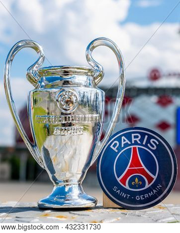 June 14, 2021 Paris, France. The Emblem Of The Football Club Paris Saint-germain F.c. And The Uefa C