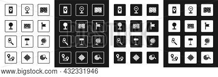 Set City Map Navigation, Push Pin, Location Marker, Stop Sign, Earth Globe And Search Location Icon.