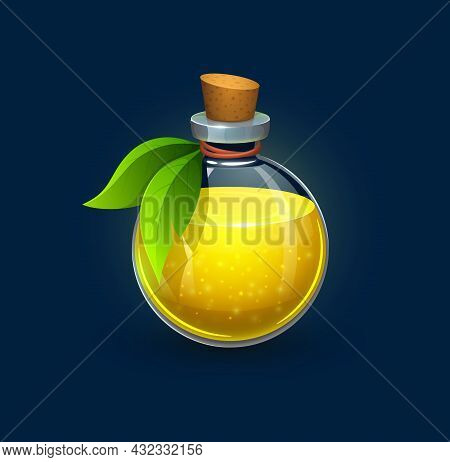 Witchcraft Glass Bottle With Green Leaves, Cork And Yellow Potion, Cartoon Vector. Magic Potion Of W