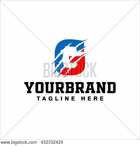 Letter G Logo Design With Red Claw Scratch Vector Illustration