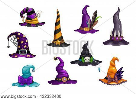 Cartoon Witch, Magician And Wizard Hats Or Caps. Halloween Holiday Carnival Vector Hats. Fantasy Cha