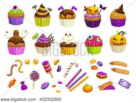 Cartoon Halloween Sweets, Cupcakes And Witch Fingers, Candy Corns Lollipops And Chocolate Desserts,