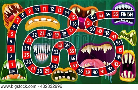 Children Board Game With Vector Path Through Halloween Monster Mouths. Start To Finish Boardgame Or