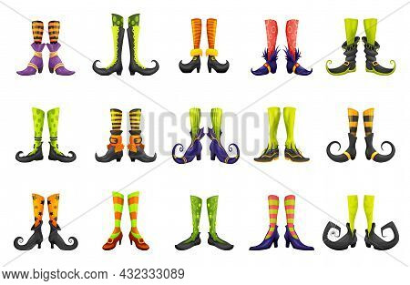 Cartoon Legs Of Fairy Witch Sorceress Or Elf And Enchantress, Vector Gnome Boots. Halloween Witch Le