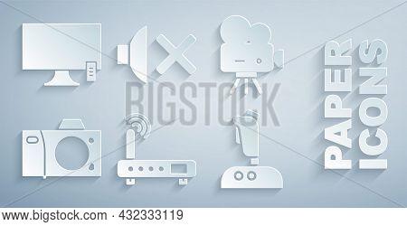 Set Router And Wi-fi Signal, Retro Cinema Camera, Photo, Joystick For Arcade Machine, Speaker Mute A