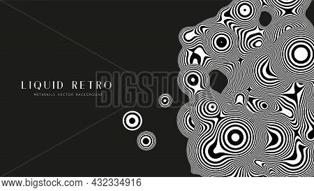 Liquid Retro 3d Zebra Metaball, With Organic Structure. Abstract Vector Black And White Background.