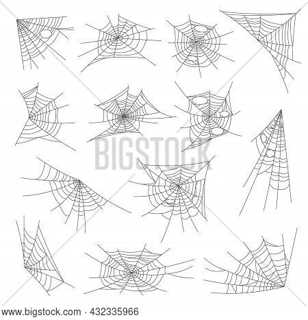 Halloween Spiderweb And Cobweb Nets Set. Isolated Halloween Holiday Decorations, Horror Background O