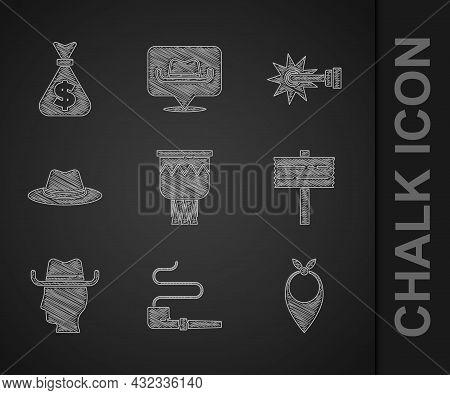 Set Drum, Smoking Pipe, Cowboy Bandana, Road Traffic Signpost, Western Cowboy Hat, Spur And Money Ba
