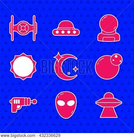 Set Moon And Stars, Alien, Ufo Flying Spaceship, Planet, Ray Gun, Sun, Astronaut Helmet And Cosmic I