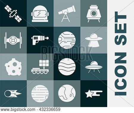 Set Falling Star, Ufo Flying Spaceship, Telescope, Ray Gun, Cosmic, Satellite And Planet Icon. Vecto
