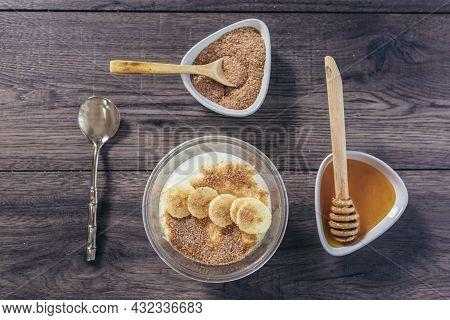 Fresh Yogurt With Wheat Bran And Banana