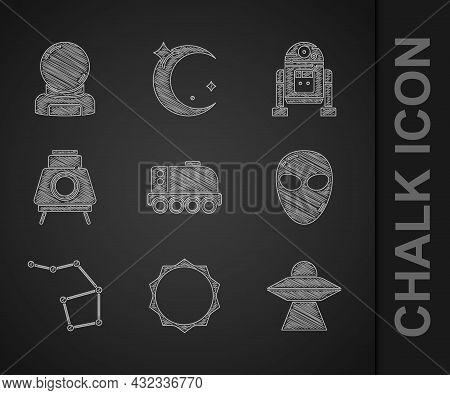 Set Mars Rover, Sun, Ufo Flying Spaceship, Alien, Great Bear Constellation, Robot And Astronaut Helm