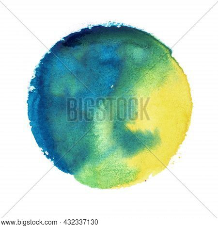 Watercolor Round Circle Texture Splash Isolated On White Grunge Background With Uneven Edges. Blank