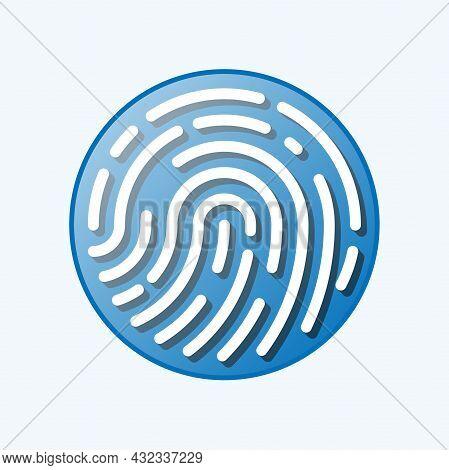 Round Fingerprint Or Thumbprint Symbol Isolated On White Background, Vector Illustration