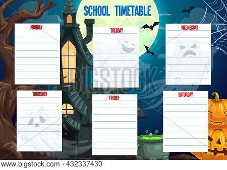 School Timetable Schedule Halloween Weekly Planner, Vector Cartoon Template. Halloween School Time T