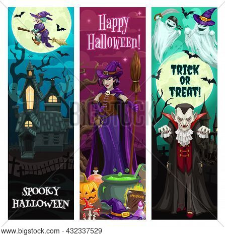 Halloween Banners, Party And Horror Night Monsters, Trick Or Treat Holiday, Vector. Happy Halloween