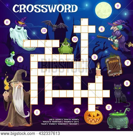 Holiday Crossword Grid, Halloween Cartoon Witch, Wizard, Ghost And Spell Book With Cauldron Pot, Vec