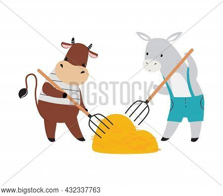 Cute Cow And Donkey As Farm Animal On Ranch Gathering Hay With Pitchfork Vector Illustration