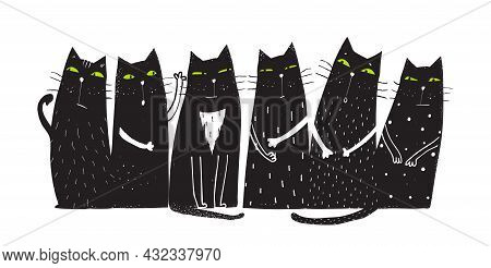 Cute And Funny Cats Sitting Together In A Row Looking With Green Eyes. Humorous Domestic Cats Design