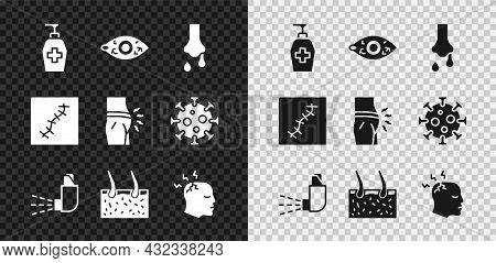 Set Liquid Antibacterial Soap, Reddish Eye, Runny Nose, Inhaler, Hair Covering Skin, Man Having Head