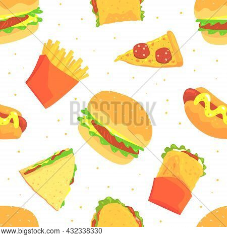 Fast Food Design With Appetizing Hamburger, Sandwich And Pizza Slice Vector Seamless Pattern