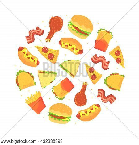 Fast Food Design With Appetizing Hamburger, Sandwich And Pizza Slice Arranged In Circle Vector Templ