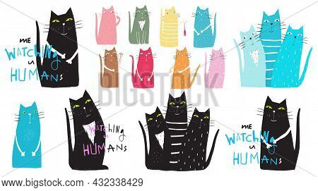 Cute And Funny Cats Playing, Humorous Collection Of Domestic Animals. Cats Print Design, Flat Hand D