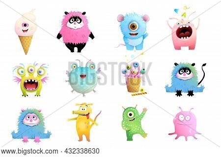 Fun Toy Monsters Collection For Children. Isolated Clipart With Funny Imaginary Monsters And Creatur