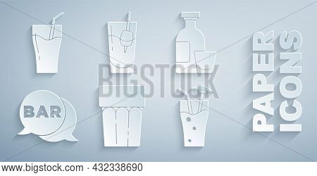 Set Glass With Water, Alcohol Drink Rum, Street Signboard Bar, Cocktail, Bloody Mary And Of Juice Ic